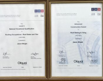 Accreditations of J Wright Roofing