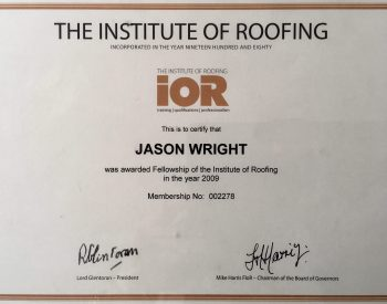 Institute of Roofing cerification